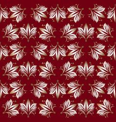 vintage seamless patterns on dark red background vector image