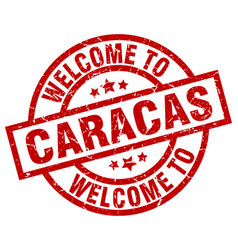 Welcome to caracas red stamp vector