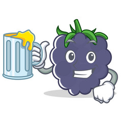 With juice blackberry character cartoon style vector