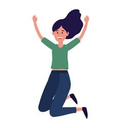 Young happy woman cartoon vector