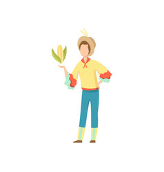 Young man in bright costume and cowboy hat vector