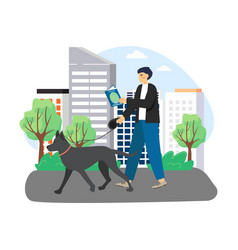 Young man reading book walking with dog in the vector