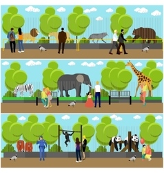 zoo concept banners people visiting zoopark vector image