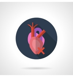 Heart disease round flat color icon vector image