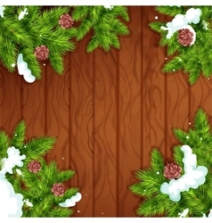 Christmas tree frame on wooden background vector image vector image