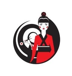 Geisha holding sushi with chopstiks isolated on vector image vector image