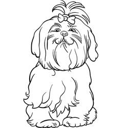 maltese dog cartoon for coloring book vector image vector image