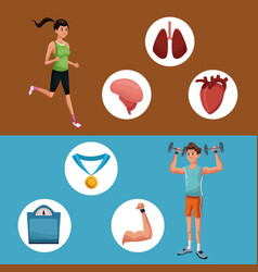 man sports jump rope training healthy vector image