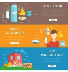 Milk flat banner set vector image vector image