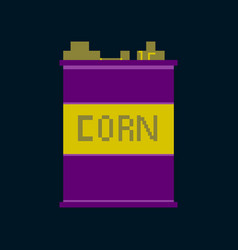 pixel icon in flat style corn in glass vector image