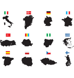 Twelve countries on white vector