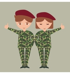 two kids children wearing military uniform army vector image