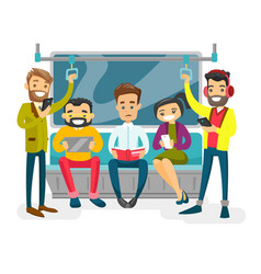 caucasian white people traveling by metro vector image
