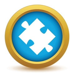 Gold puzzle icon vector image