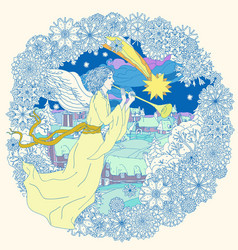 angel with trumpet - in three colors vector image