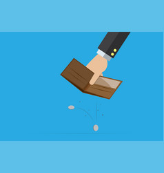 business hand holding empty wallet with coins vector image