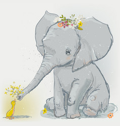 cute elephant with little duck vector image vector image