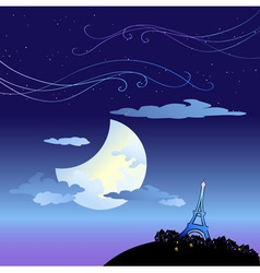 eiffel tower at dusk vector image vector image