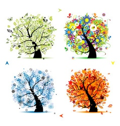 Four seasons tree - spring summer autumn winter vector image vector image