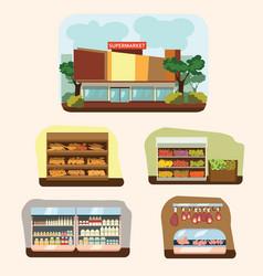 shop building cartoon set with mini store symbols vector image