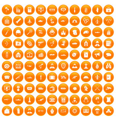 100 military icons set orange vector