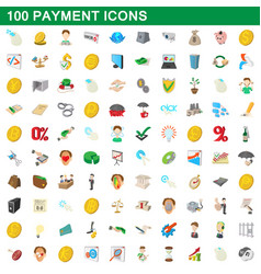 100 payment icons set cartoon style vector image