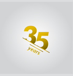 35 years anniversary celebration gold line vector