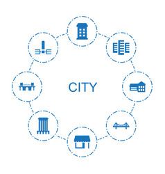 8 city icons vector