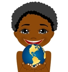 African american little boy holding earth globe vector