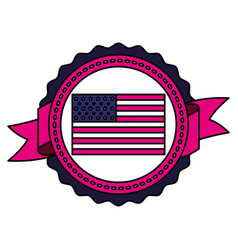 american flag on white background vector image