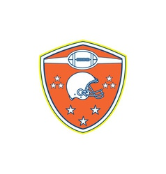 American Football Helmet Stars Shield Retro vector