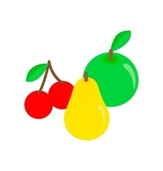 Apple pear and cherries isometric 3d icon vector image