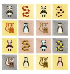 Assembly flat shading style icons panda bear snake vector