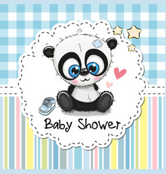 Baby shower greeting card with cartoon panda vector