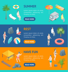beach rest concept banner horizontal set 3d vector image