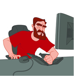 bearded man in a red t-shirt is angry and broke vector image