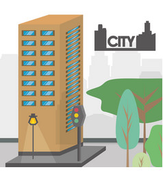 Beautiful city with building towers vector