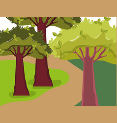 Beautiful forest scenery vector