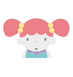 Beauty girl with hairstyle to kawaii avatar vector