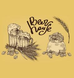 Beer hops mug ears sack vector