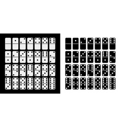 black and white domino full set in flat design vector image