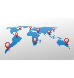 blue world map with red pin pointer vector image