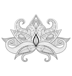 Boho ornamental lotus flower blackwork tattoo vector