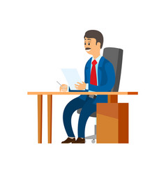 Boss chief executive with pile papers in hands vector