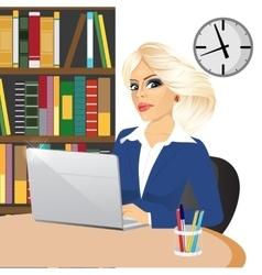 Businesswoman working on laptop vector