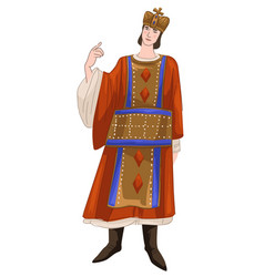 byzantine man prince character wearing crown vector image