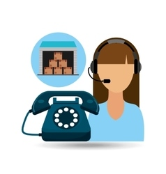 call centre woman working storage package vector image