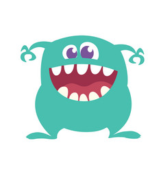 cartoon happy monster with big mouth vector image