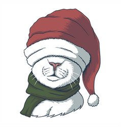 cat wearing a santa hat for christmas vector image