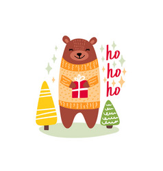 christmas card with cute bear vector image